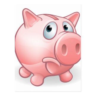 Sad Cartoon Piggy Bank Postcard