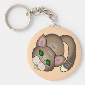 Sad cat key ring