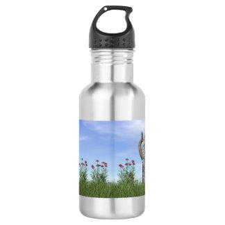Sad cat near tombstone 532 ml water bottle