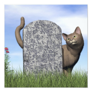 Sad cat near tombstone card