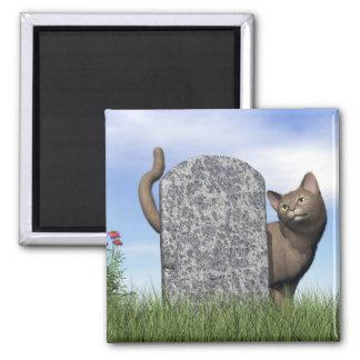 Sad cat near tombstone magnet