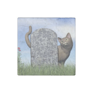 Sad cat near tombstone stone magnet