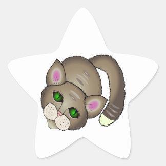 Sad cat star sticker