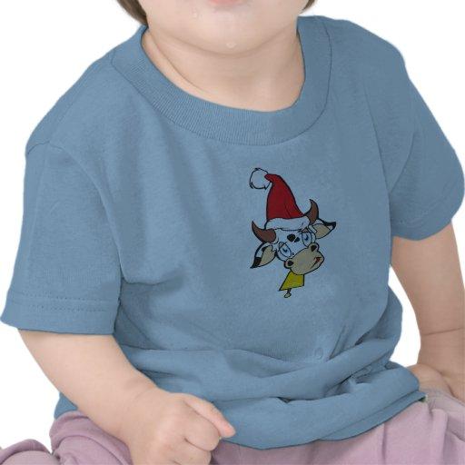 Sad Christmas Cow Santa Hat Bell Kid Baby Shirts