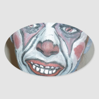 Sad Clowns Scary Clown Face Painting Oval Sticker