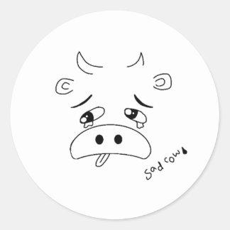 Sad Cow Classic Round Sticker