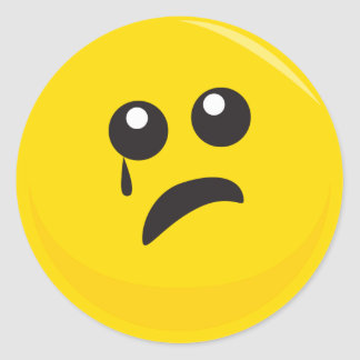 Sad Crying Cute Smiley Face Round Sticker
