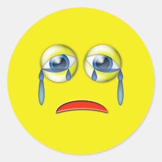Sad Crying Emoji Classic Round Sticker