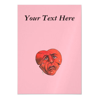Sad Crying Red Heart Face Magnetic Card
