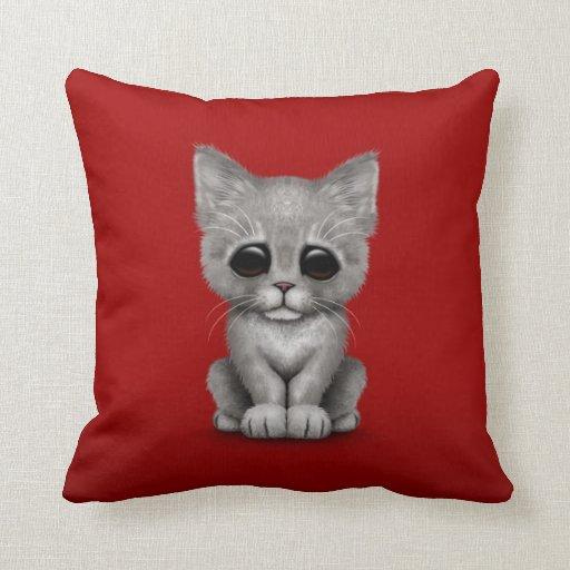 Sad Cute Gray Kitten Cat on Red Throw Pillow
