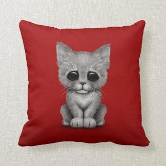 Sad Cute Gray Kitten Cat on Red Throw Cushion