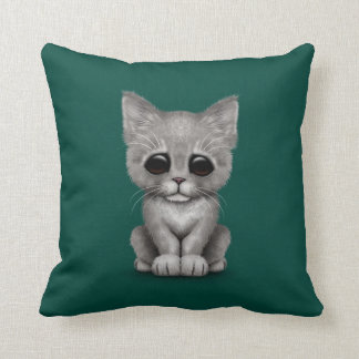 Sad Cute Gray Kitten Cat on Teal Blue Throw Cushions