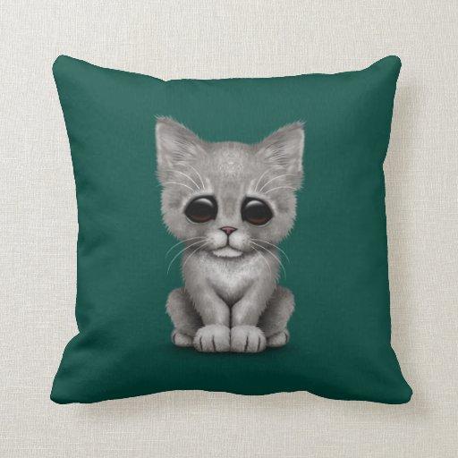 Sad Cute Gray Kitten Cat on Teal Blue Pillow