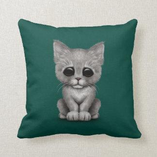 Sad Cute Gray Kitten Cat on Teal Blue Throw Cushions
