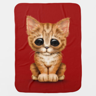 Sad Cute Orange Tabby Kitten Cat on Red Baby Blanket