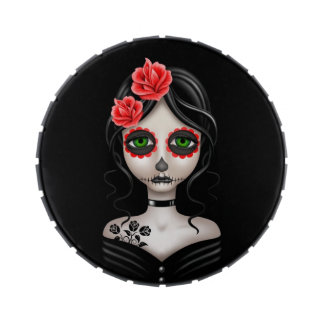 Sad Day of the Dead Girl on Black Jelly Belly Tin