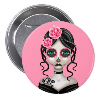 Sad Day of the Dead Girl on Pink 7.5 Cm Round Badge
