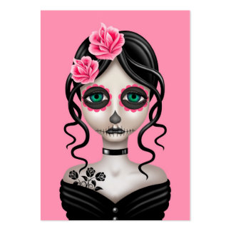 Sad Day of the Dead Girl on Pink Business Card Template