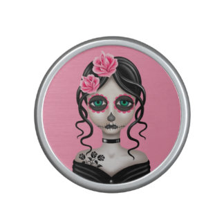 Sad Day of the Dead Girl on Pink Speaker