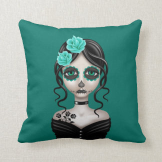 Sad Day of the Dead Girl on Teal Blue Cushions