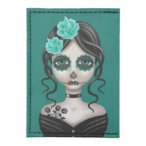 Sad Day of the Dead Girl on Teal Blue Tyvek® Card Wallet