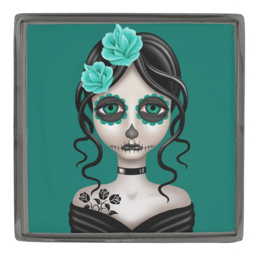 Sad Day of the Dead Girl on Teal Blue Gunmetal Finish Lapel Pin