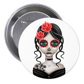 Sad Day of the Dead Girl on White Pinback Button