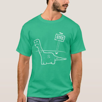 Sad Dino: No Dinosaurs on Flat Earth T-Shirt