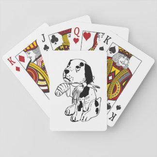Sad Dog With Broken Leg Playing Cards