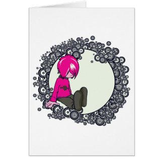 sad emo kid vector illustration greeting card