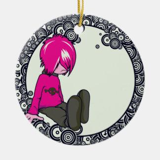 sad emo kid vector illustration round ceramic decoration
