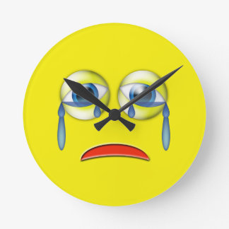 Sad Emoji Round Clock
