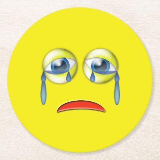 Sad Emoji Round Paper Coaster