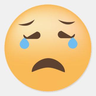 Sad Emoji Round Sticker
