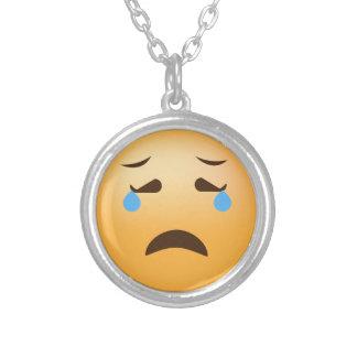 Sad Emoji Silver Plated Necklace