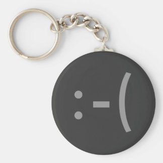 Sad Face Basic Round Button Key Ring