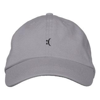 sad face embroidered cap