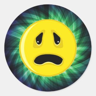 Sad Face; Green Round Sticker