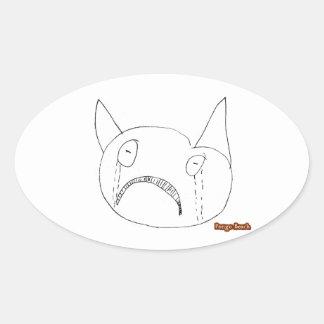Sad Face Oval Stickers