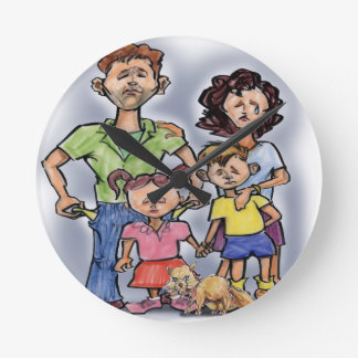 Sad Family Round Clock
