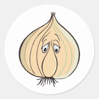 sad garlic face round sticker