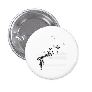 Sad girl and butterfly 3 cm round badge