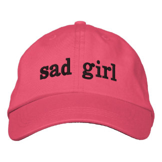 sad girl hat embroidered baseball cap