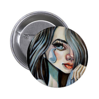 Sad girl swipes in 6 cm round badge