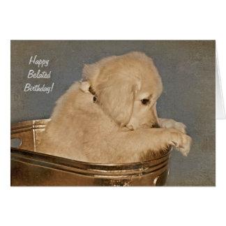 sad Golden Retriever belated birthday Card