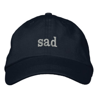 sad hat embroidered hat