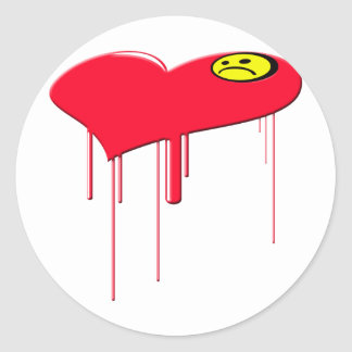 Sad Heart and Sad Face Round Sticker