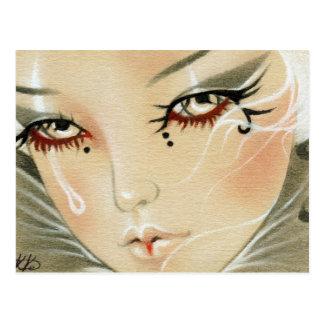 Sad Jester Teardrop Postcard
