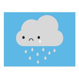 Sad Kawaii Rain Cloud Postcard