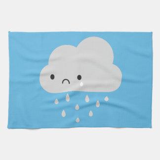 Sad Kawaii Rain Cloud Tea Towel